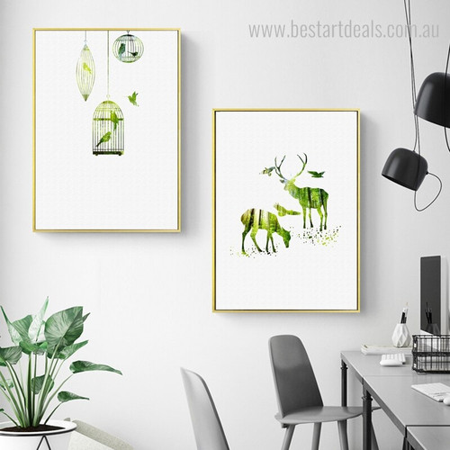 Green Deers Nature Animal Nordic Framed Painting Picture Canvas Print for Room Wall Getup