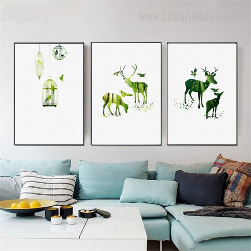 Holt Nordic Animal Nature Framed Painting Image Canvas Print for Room Wall Ornamentation