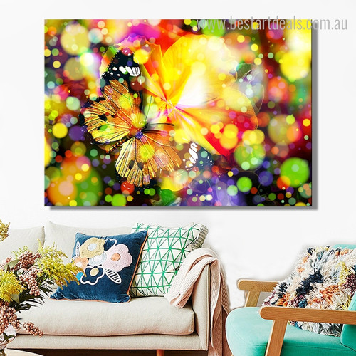 Dreamy Butterfly Abstract Animal Framed Painting Photo Canvas Print for Room Wall Outfit