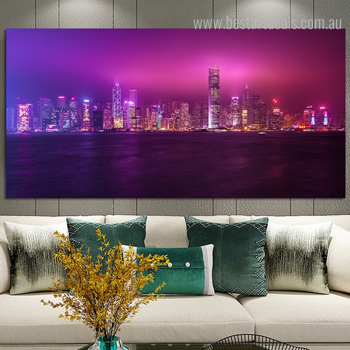 South China Sea Seascape Cityscape Modern Framed Painting Picture Canvas Print for Living Room Wall Decor
