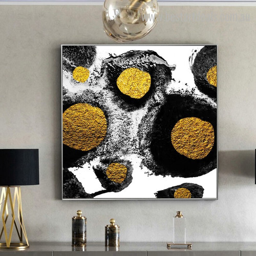 Golden Stones Abstract Modern Framed Painting Image Canvas Print for Room Wall Getup