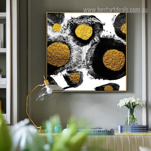 Golden Stones Abstract Modern Framed Painting Image Canvas Print for Room Wall Finery