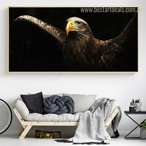 Golden Eagle Bird Modern Painting Picture Canvas Print for Lounge Room Wall Decor