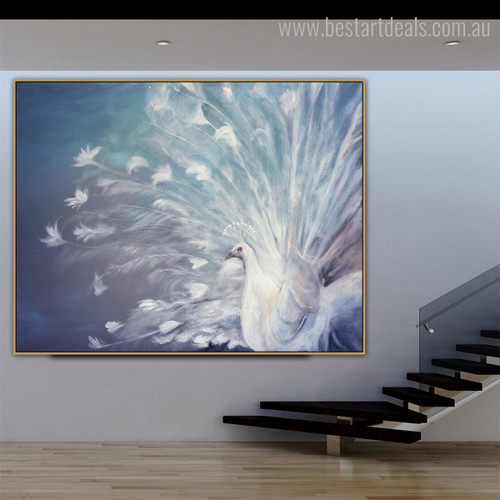 White Peafowl Bird Modern Framed Painting Image Canvas Print for Room Wall Outfit