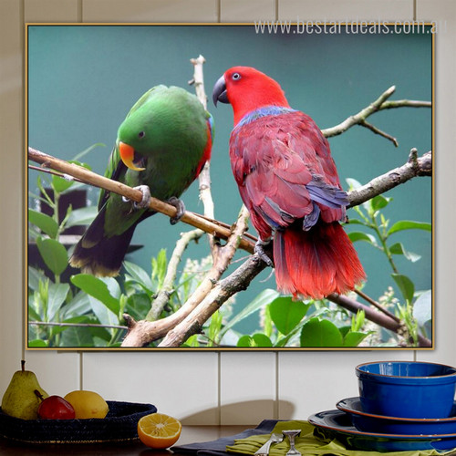 Eclectus Parrot Bird Modern Nature Effigy Photo Canvas Print for Room Wall Drape