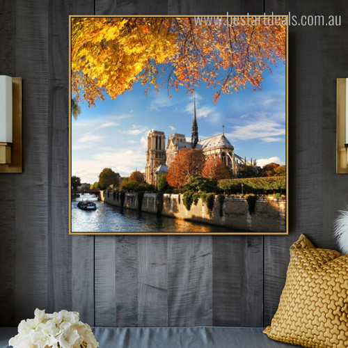 Notre Dame Modern Cityscape Framed Painting Picture Canvas Print for Room Wall Equipment