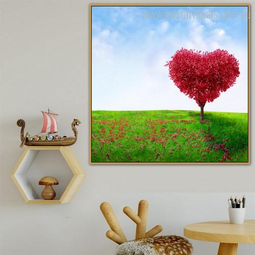Heart Sapling Botanical Modern Framed Effigy Portrait Canvas Print for Dining Room Wall Finery