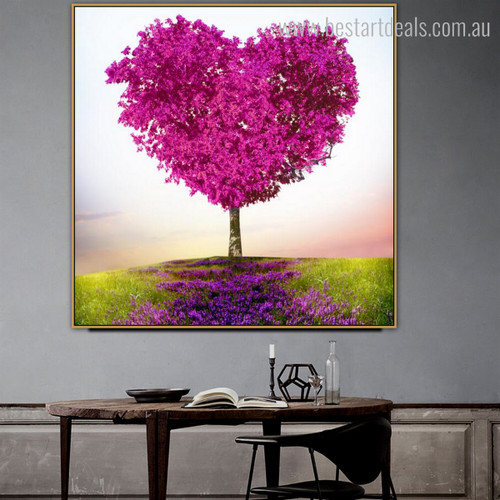 Purple Flowers Modern Framed Vignette Image Canvas Print for Room Wall Assortment