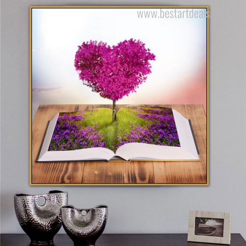 Heart Book Contemporary Floral Framed Effigy Image Canvas Print for Room Wall Outfit
