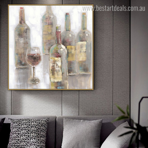 Bottles Abstract Modern Framed Effigy Image Canvas Print for Living Room Wall Tracery