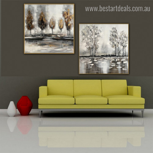 Brooks Abstract Modern Landscape Resemblance Image Canvas Print for Room Wall Flourish