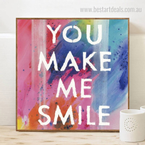 Make Smile Modern Framed Painting Image Canvas Print for Room Wall Getup