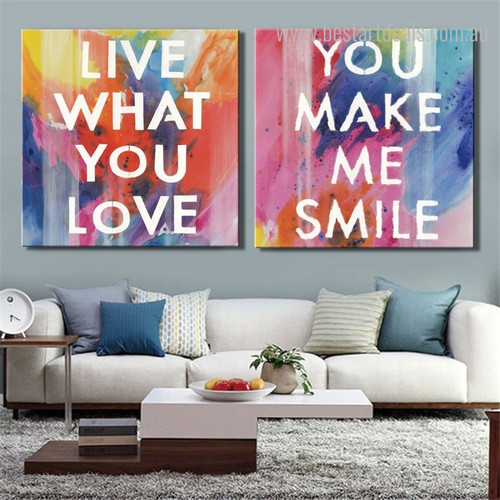 Love Smile Contemporary Framed Canvas Artwork Image Print for Room Wall Assortment