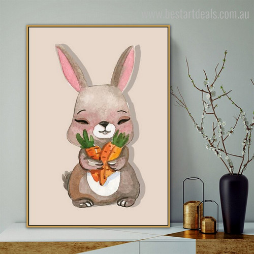 Little Bunny Cartoon Animal Framed Smudge Portrait Canvas Print for Room Wall Onlay