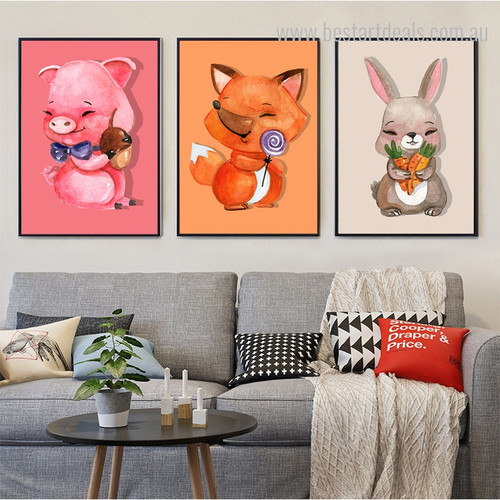 Animal Babies Modern Framed Portmanteau Image Canvas Print for Living Room Wall Ornamentation
