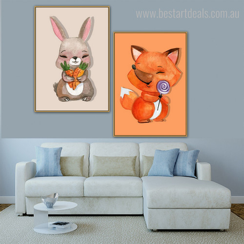 Beast Kids Animal Animated Contemporary Framed Painting Portrait Canvas Print for Living Room Wall Disposition