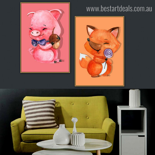 Piglets Animated Modern Framed Effigy Photo Canvas Print for Room Wall Getup
