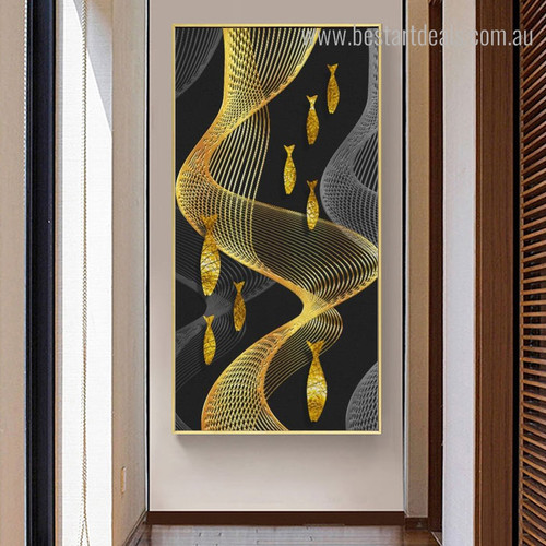 Golden Perches Animal Contemporary Abstract Framed Portraiture Picture Canvas Print for Room Wall Decor