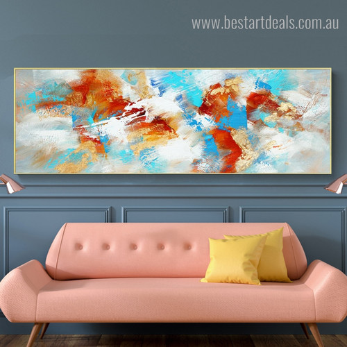 Calico Spots Abstract Modern Panoramic Framed Painting Image Canvas Print for Room Wall Garnish