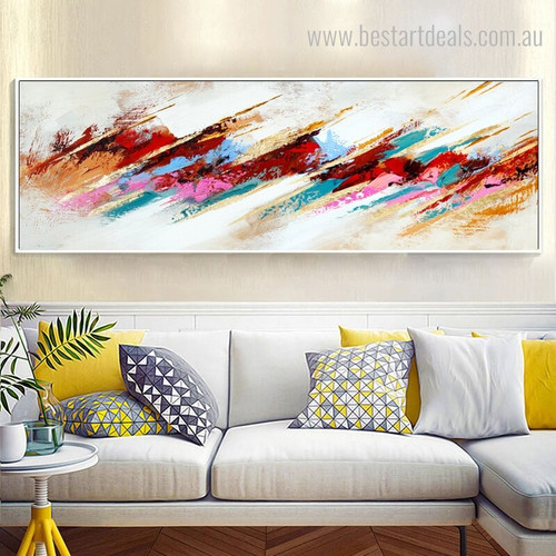 Reddish Abstract Modern Panoramic Framed Canvas Artwork Picture Print for Lounge Room Wall Molding