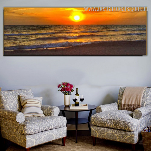 Sunup Landscape Panoramic Contemporary Painting Photo Canvas Print for Lounge Room Wall Onlay