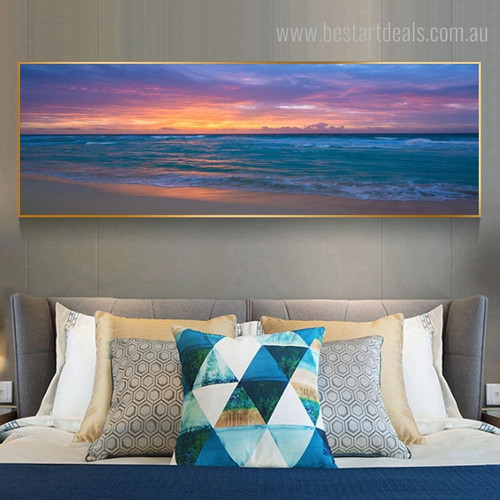 Strand Panoramic Modern Landscape Framed Painting Picture Canvas Print for Room Wall Disposition