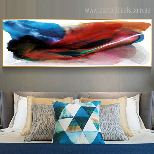 Bluish Abstract Modern Panoramic Framed Painting Picture Canvas Print for Room Wall Finery
