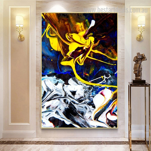 Cerulean Abstract Modern Framed Portmanteau Image Canvas Print for Room Wall Getup