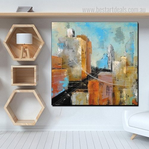 Silent Town Abstract Modern Cityscape Framed Portraiture Picture Canvas Print for Room Wall Garnish