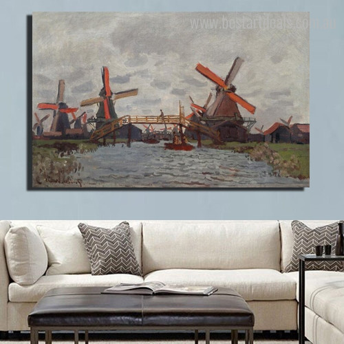 Windmills Near Zaandam Impressionist Reproduction Framed Painting Picture Canvas Print for Room Wall Adornment
