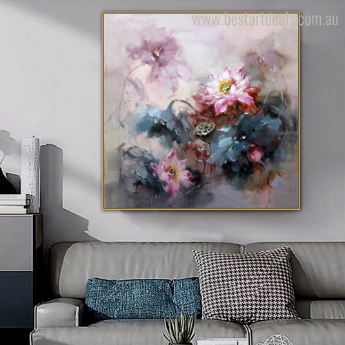 Lotos Flowerets Abstract Modern Floral Handmade Painting Photo Canvas Print for Room Wall Moulding