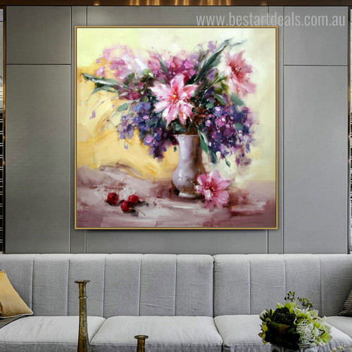 Pink Florets Abstract Floral Modern Framed Painting Picture Canvas Print for Room Wall Onlay