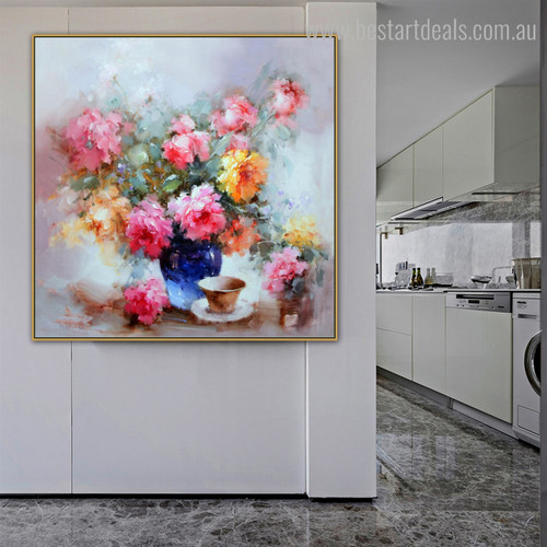 Commode Abstract Modern Floral Framed Effigy Image Canvas Print for Living Room Wall Decoration