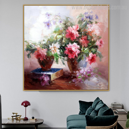 Crappers Abstract Contemporary Floral Framed Resemblance Photo Canvas Print for Room Wall Disposition