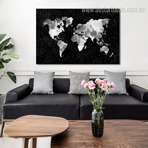 Phoebe Modern Map Framed Smudge Portrait Canvas Print for Living Room Wall Embellishment