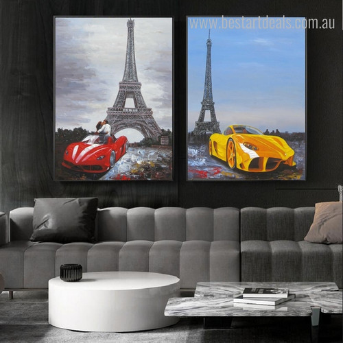 Lovers Capital Abstract Modern Cityscape Framed Panting Image Canvas Print for Room Wall Outfit
