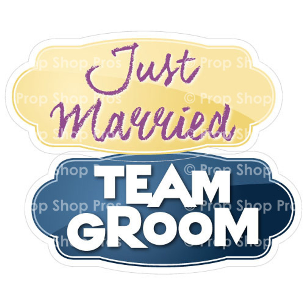 Prop Shop Pros Wedding Photo Booth Props Just Married & Team Groom