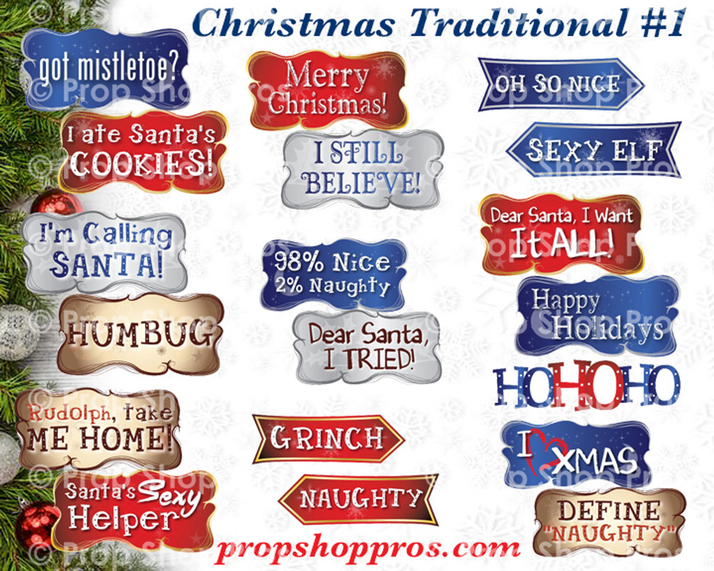 Christmas Signs | Traditional Part #1 | Photo Booth Props