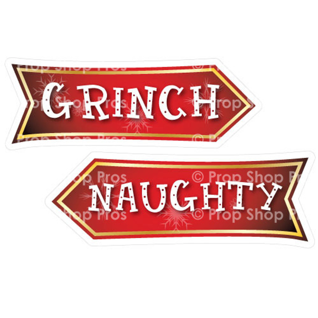 Prop Shop Pros Christmas Photo Booth Props Grinch & Naughty