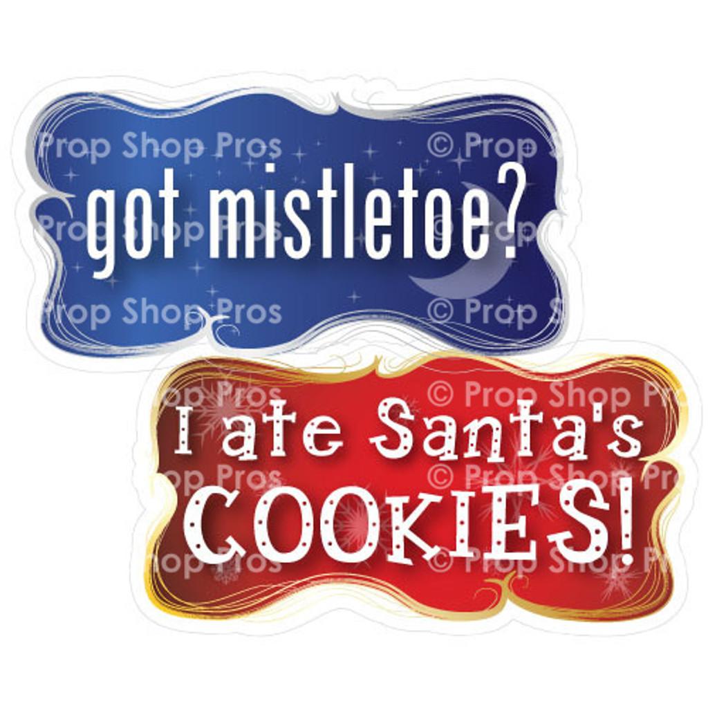 Prop Shop Pros Christmas Photo Booth Props Got Mistletoe & I Ate Santa's Cookies