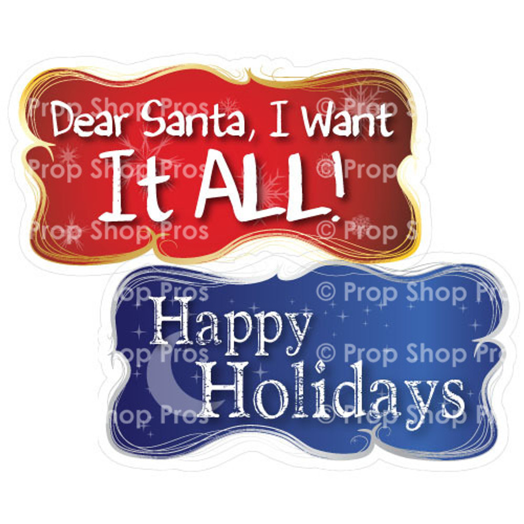 Prop Shop Pros Christmas Photo Booth Props Dear Santa I Want It All & Happy Holidays