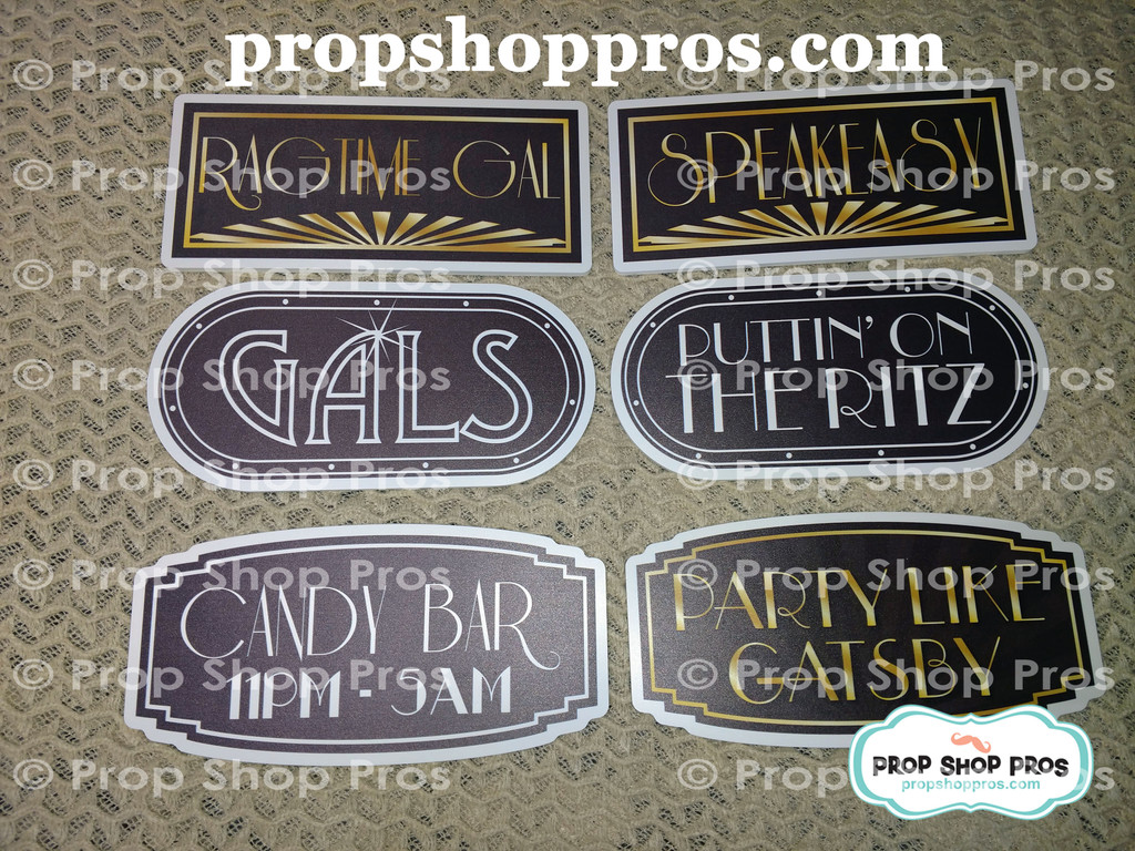 Gatsby Signs | Roaring 20's | B-STOCK | Photo Booth Props | Prop Signs