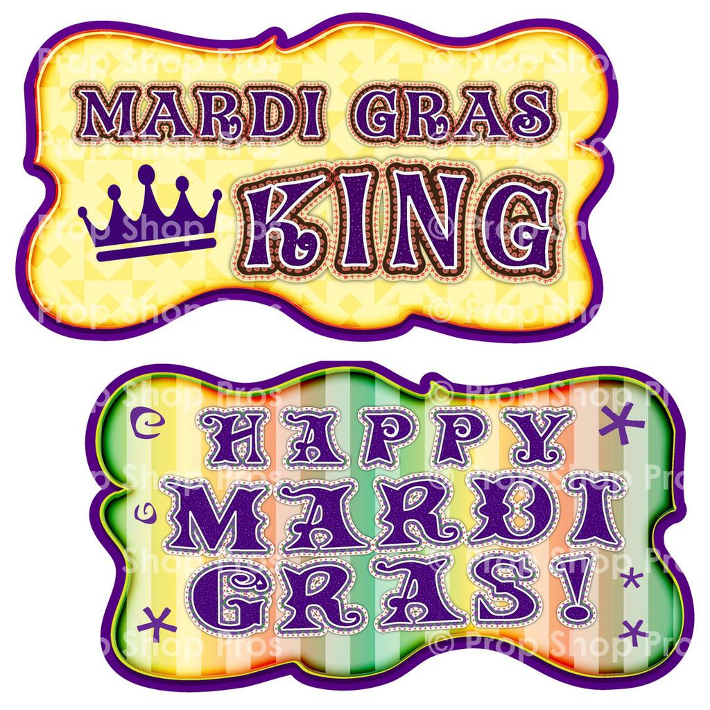 Prop Shop Pros Mardi Gras Photo Booth Props Mardi Gras King & Happy Mardi Gras