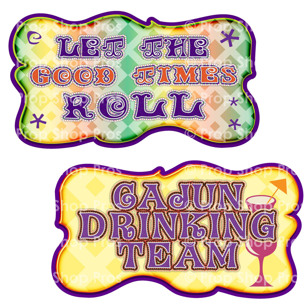 Prop Shop Pros Mardi Gras Photo Booth Props  Lets The Good Times Roll & Cajun Drinking Team