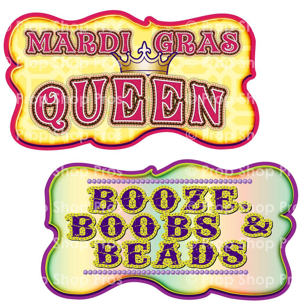 Prop Shop Pros Mardi Gras Photo Booth Props Mardi Gras Queen & Booze, Boobs & Beads
