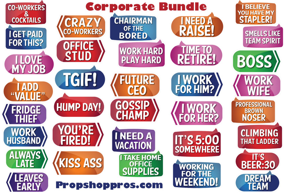 Corporate Signs B Stock Photo Booth Props Prop Signs