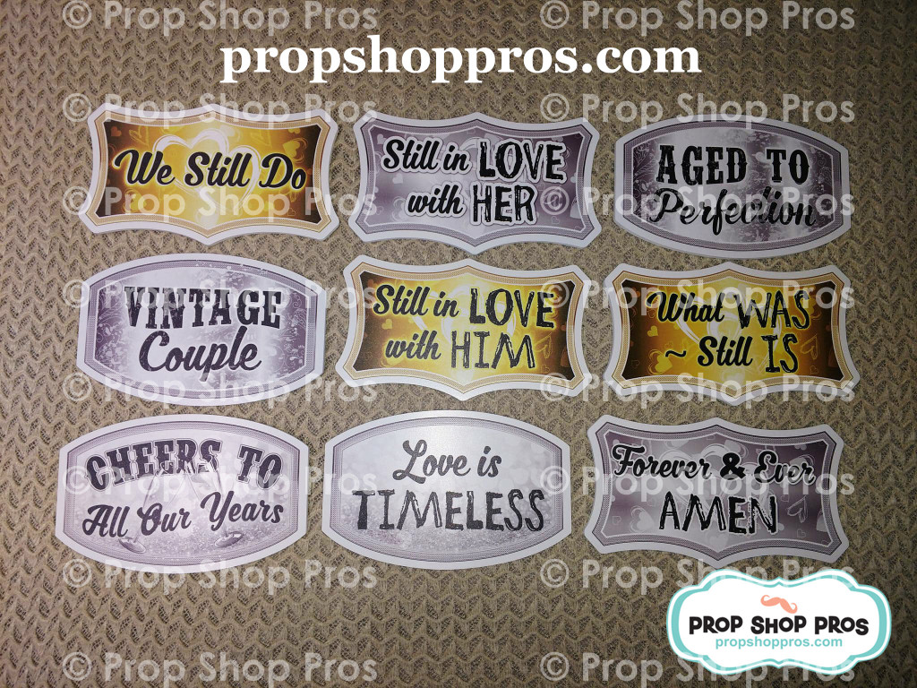 Anniversary Signs | Photo Booth Props | Prop Signs