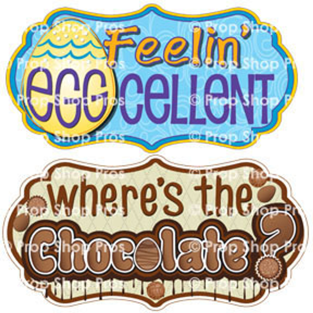 Prop Shop Pros Easter Photo Booth Props Feelin Eggcellent & Where's The Chocolate