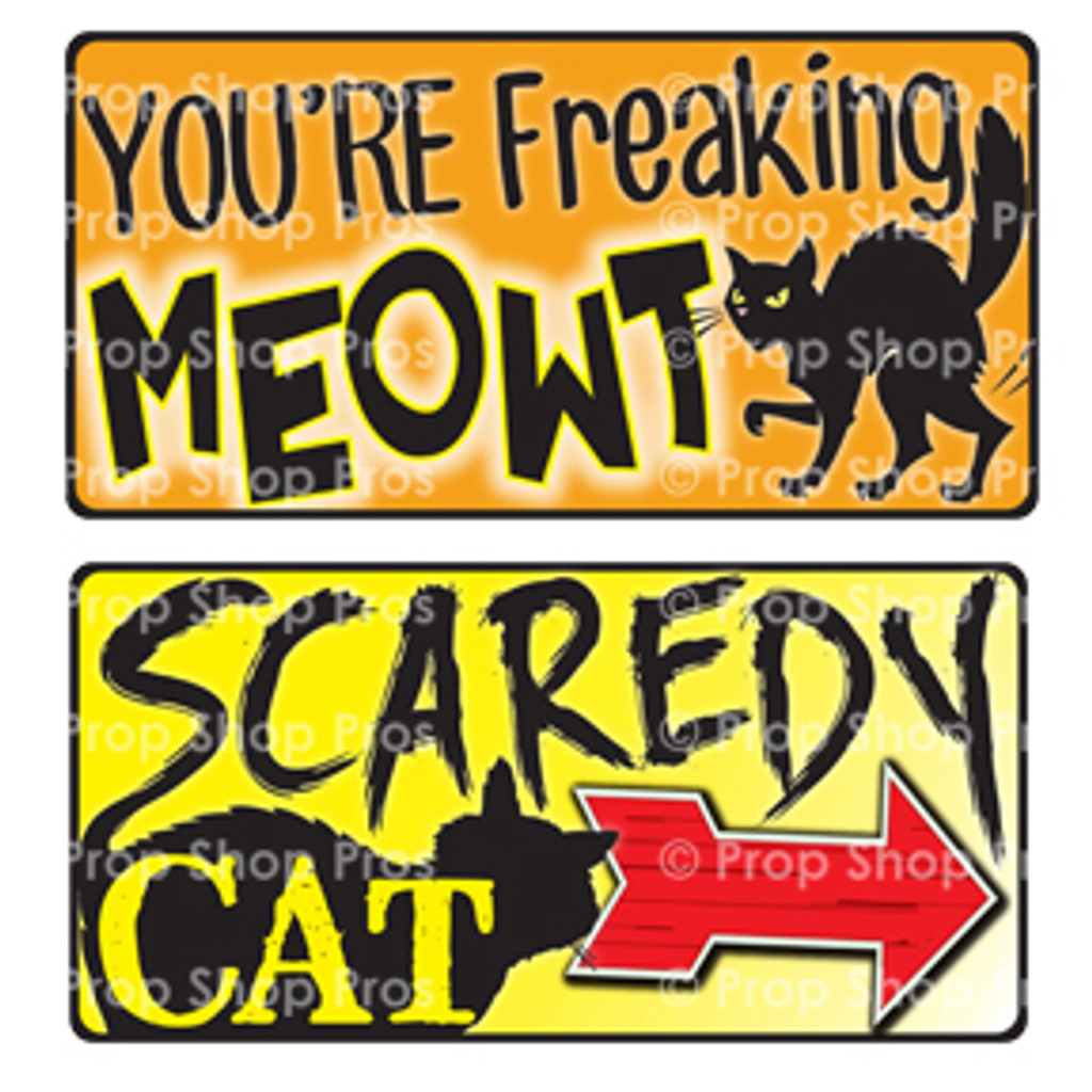 Prop Shop Pros Halloween Photo Booth Props You're Freaking Meowt & Scaredy Cat