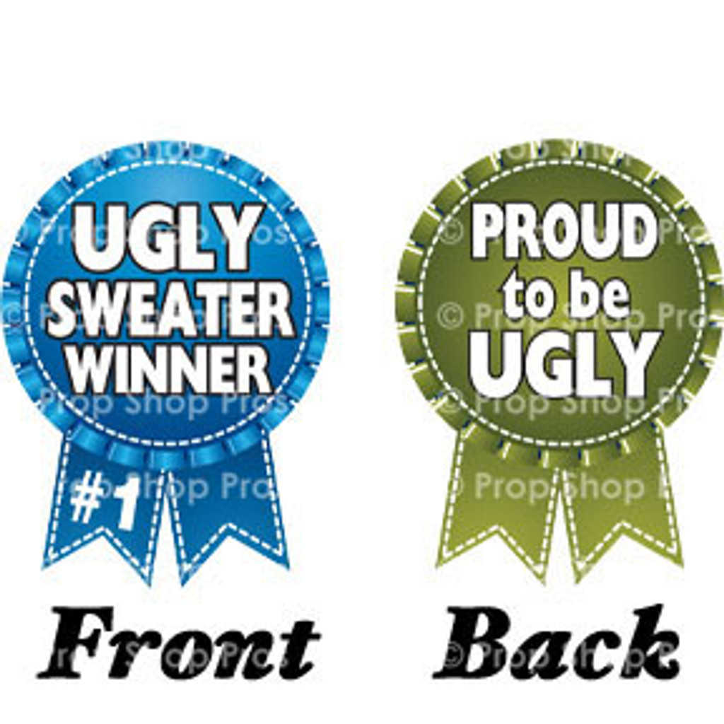 Prop Shop Pros Ugly Sweater Photo Booth Props Ugly Sweater Winner & Proud To Be Ugly Ribbon